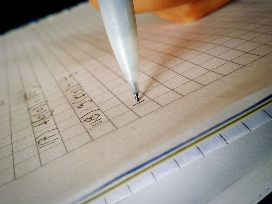 Beautiful stock photos of math, , Ballpoint Pen, Black Background, Checked Pattern