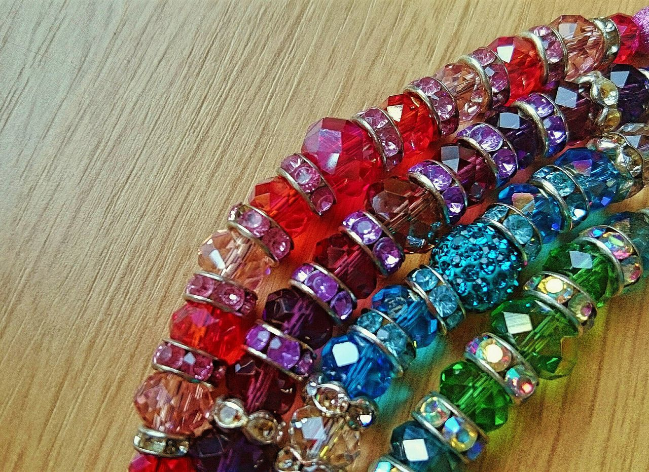 Beads Jewellery Sparkle Close-up Bracelets Gems Hand-made Vivid Colours  Crystals Still Life