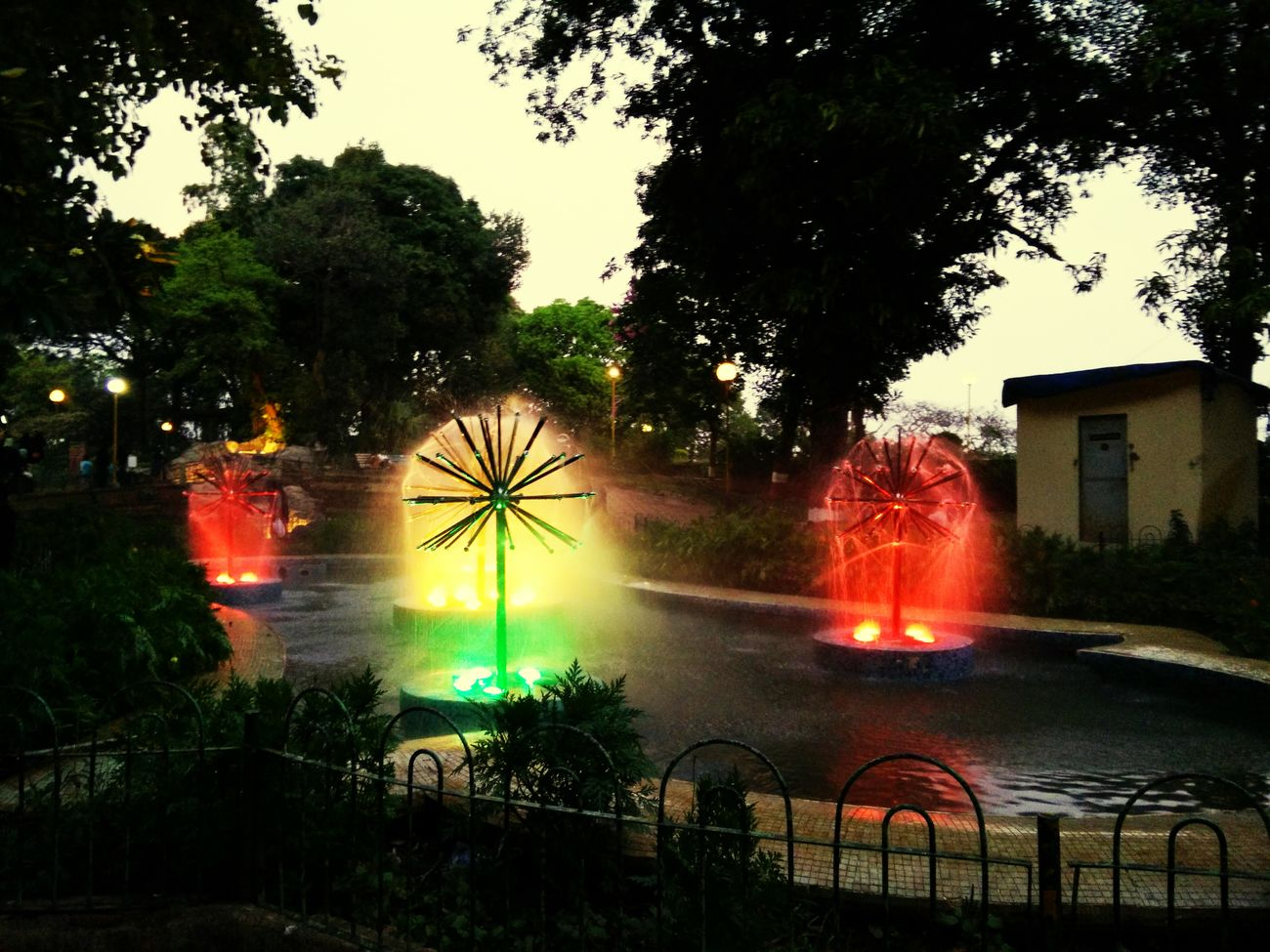 Fountain NightCities At Night night fountains Colorful No People Taking Photos Beatiful Just A Try Nightphotography Water Fountain at Hanging Garden Mumbai
