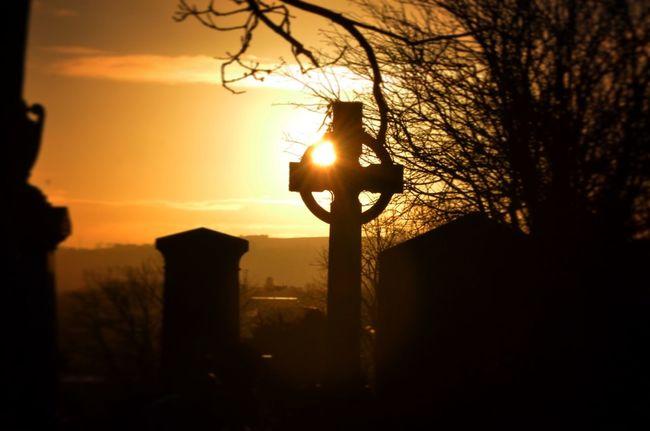 Sunrise Golden Hour Cemetery Celtic Cross