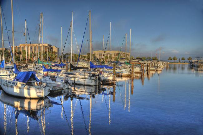 Boat Harbor Mast Moored Nautical Vessel Sanford Florida, Marina Sanford Florida Transportation Waterfront