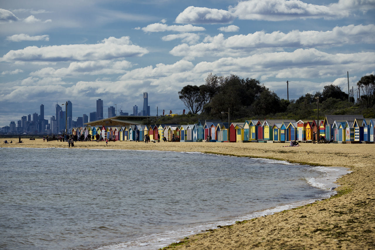 Beach Beach Boxes Beauty In Nature Brighton City City Cloudy Color Colors Day Melbourne Multi Colored Nature S Scape Scenics Sea Senic Shore Sky Skyline Spring Tourism Victoria Battle Of The Cities