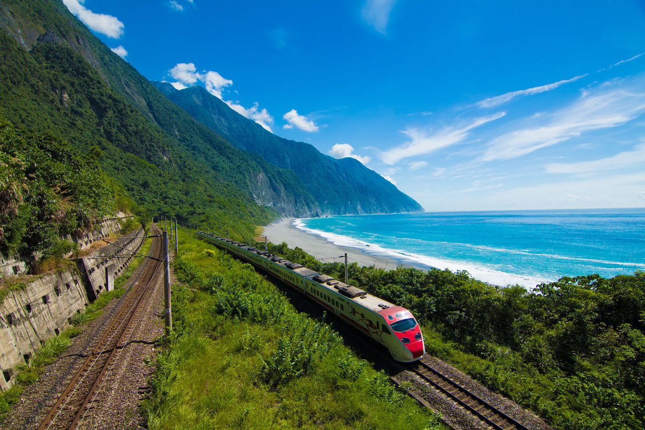 Train On Landscape Against The Sea