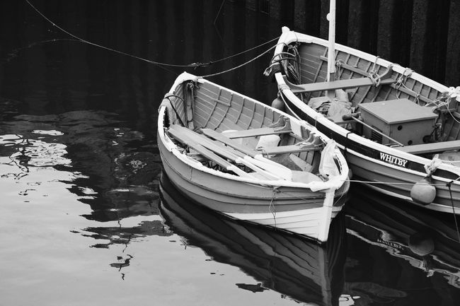 Whitby Harbour Boats Seaside Black And White Monochrome Yorkshire