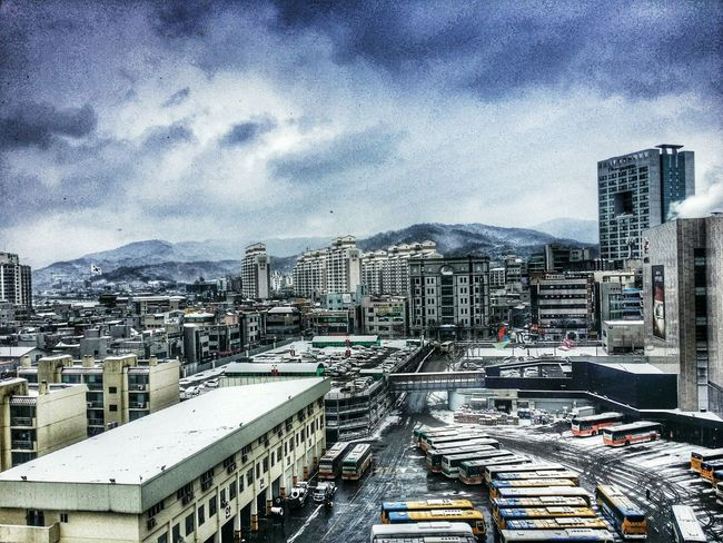 the Snowing town. Winter 천안 City