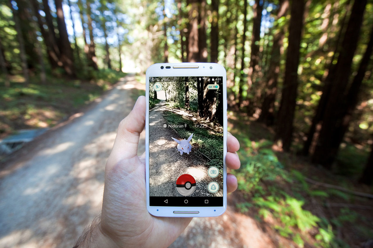 A Pokemon Go player encounters a wild Pokemon on a forest hiking trail. Android Augmented Reality Encounter Hiking Niantic Nidoran Nintendo Pokemon Go Pokémon Adventure Explore Forest Game Human Hand Ios Nature Outdoors Pokemon Hunting Searching Smart Phone Technology Tree