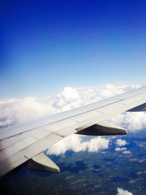 Cobalt Blue By Motorola From An Airplane Window Blue Sky Over The Clouds
