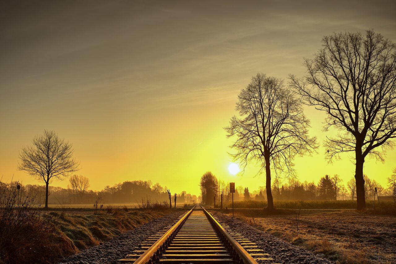 Der erste Sonnenaufgang 2015 Sunrise Sun Sunshine Sunlight Tree Railroad Track Outdoors Beauty In Nature Sky Day First Eyeem Photo
