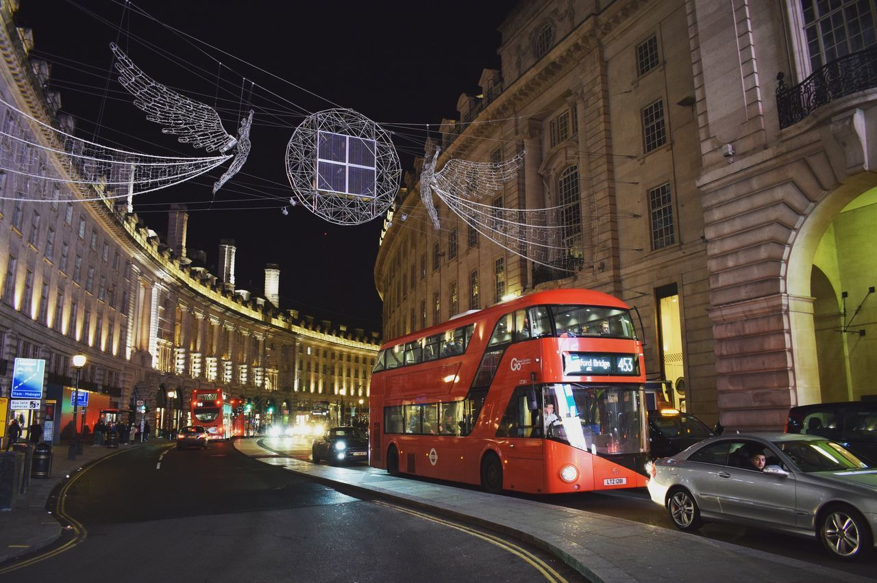 Architecture Built Structure Building Exterior Transportation Land Vehicle Street Mode Of Transport Illuminated Road Night City Car Outdoors No People London Regent Street  Bus Adapted To The City