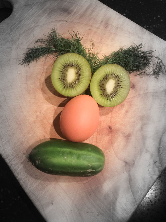 while preparing lunch, suddenly that face turned up... Close-up Food And Drink Freshness Fruit Healthy Eating In My Fridge Indoors  Iseefaces No People Playing Around Still Life Cucumber Kiwi Egg Dill