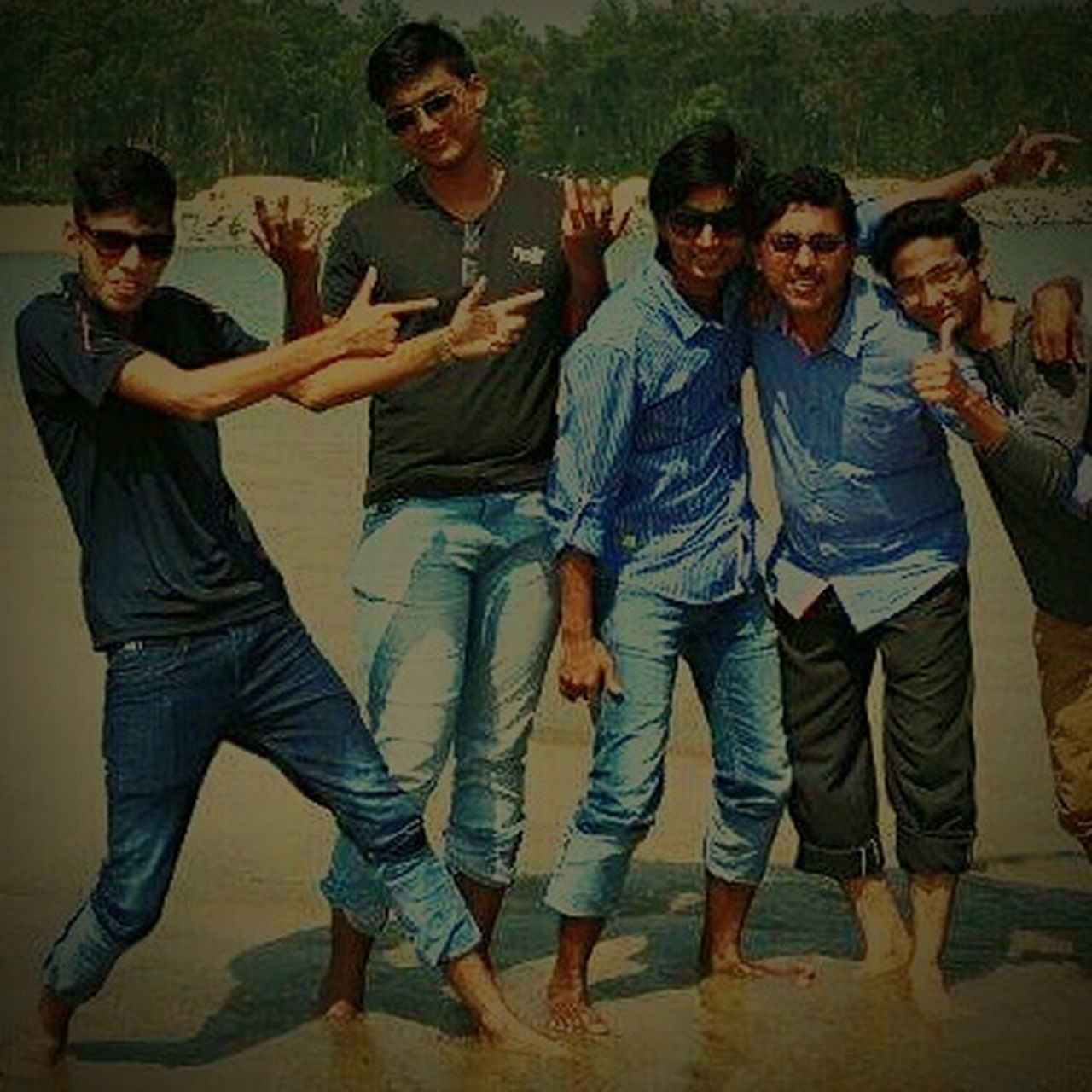 adult, friendship, casual clothing, fun, adults only, people, young adult, full length, mature adult, young men, togetherness, standing, men, leisure activity, smiling, portrait, looking at camera, happiness, outdoors, day, tree, only men, young women, real people, nature