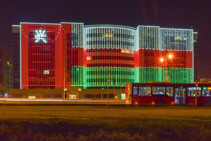 The start of oman national day 47th year Red Night No People Multi Colored Architecture Built Structure Outdoors Industry Building Exterior Sky Oman Oman_photography Oman_photo Omani