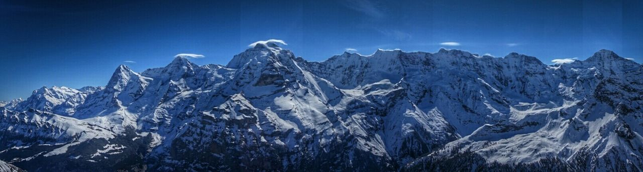 Panoramic Landscape Panorama Schilthorn Mürren Amazing Places Mountain View Eiger Moench Jungfrau