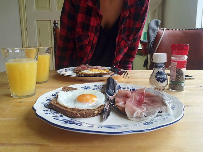Breakfast Eggs&ham Food Juice Morning After Relaxing
