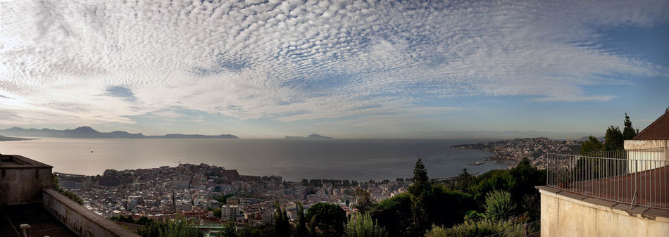 Architecture Building Exterior Built Structure City Cityscape Cloud - Sky Day Naples, Italy Nature No People Outdoors Panoramic View Residential Building Sea Sky Town Tree Water