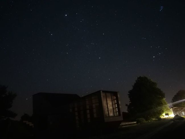 Night Star - Space Dark Astronomy Tree Architecture No People Sky Constellation Milky Way Outdoors Illuminated Building Exterior City Galaxy