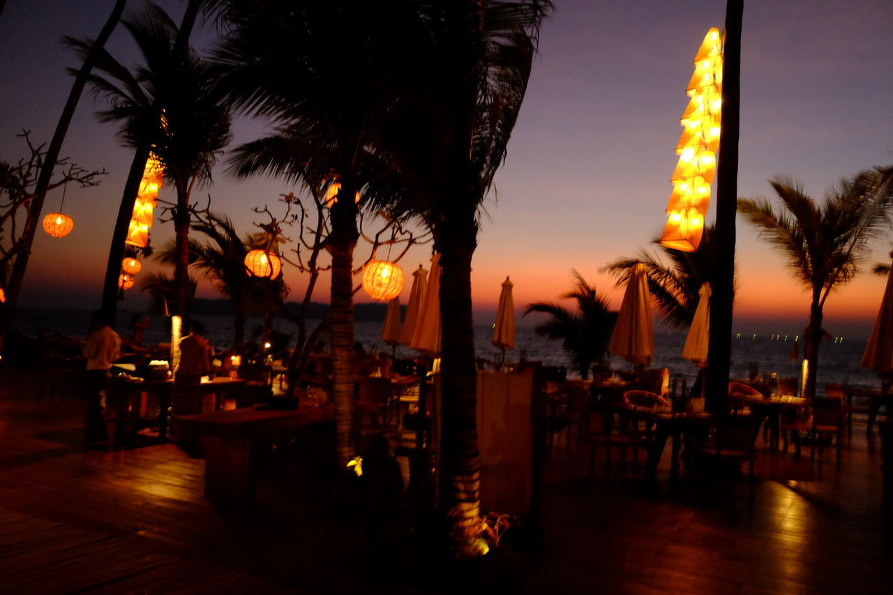 Night Lights at Outdoor Restaurant overlooking the sea at Ngapali Bay Villas Blue And Orange Sky Coconut Trees Composition Dusk Sky Full Frame Fun Holidays Hotel I Myanmar Ngapali Ngapali Beach Night Photography No People Outdoor Photography Refelctions Relaxation Restaurant Sea Tourism Tourist Attraction  Tourist Destination Travel Destination Vacations Water
