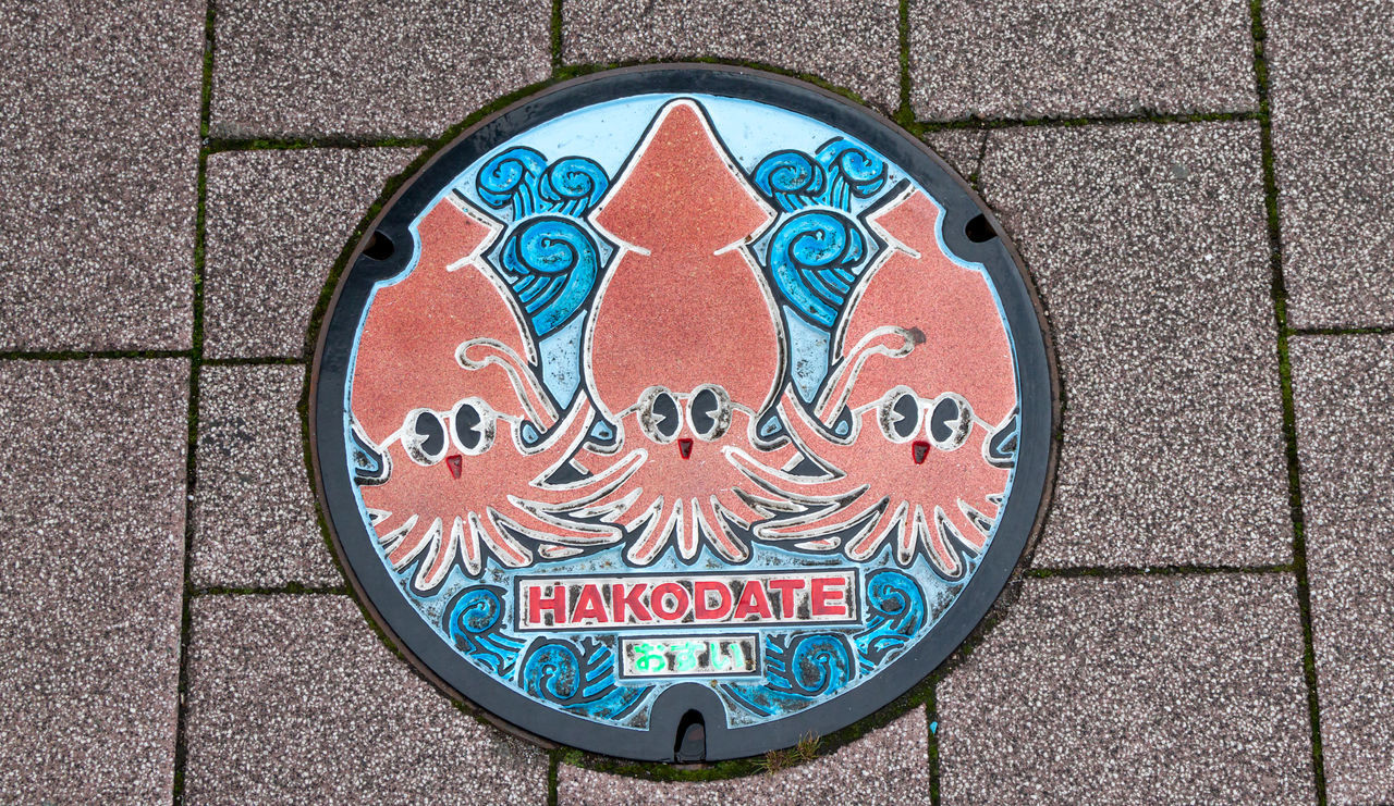 A Hakodate drain cover with squid illustrations Art Close-up Day Drain Cover High Angle View No People Outdoors Pattern Squid