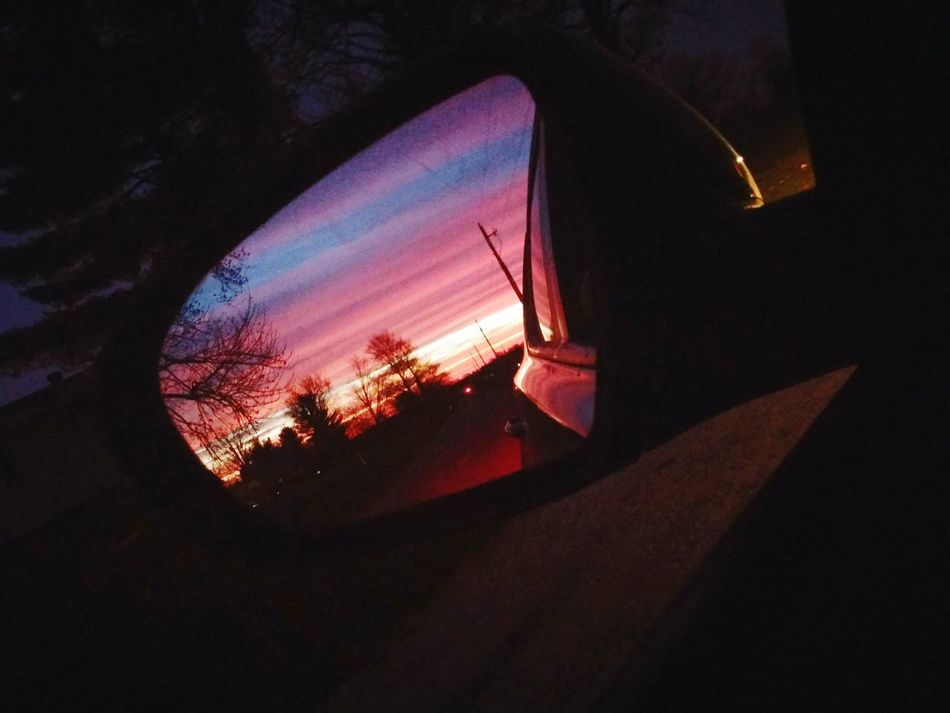 Never miss the perfect moment. Mothernature Beautiful Sky Pink Sky Sunset_collection Sky_scapes Eyeem Ohio USA Ohio Skies Itookthispicture Capture The Moment Car Ride  Mirrored Sunsetfrombehind OnceInALifetimeOpportunity Breathtaking Getitbeforeitisgone