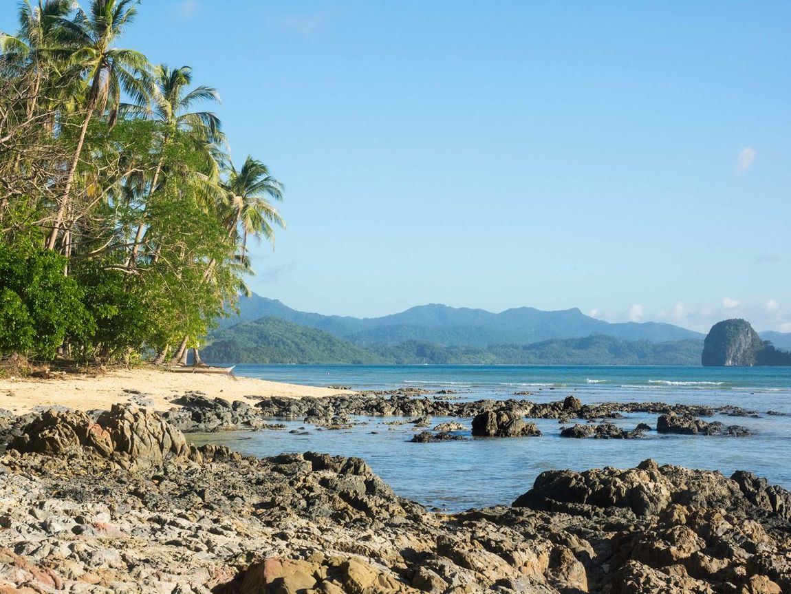 Beach Coastline El Nido Horizon Over Water Ocean Outdoors Palawan Palm Trees Philippines Rocks And Water Sand Sea Shore Summer Tropical Climate Vacations Water