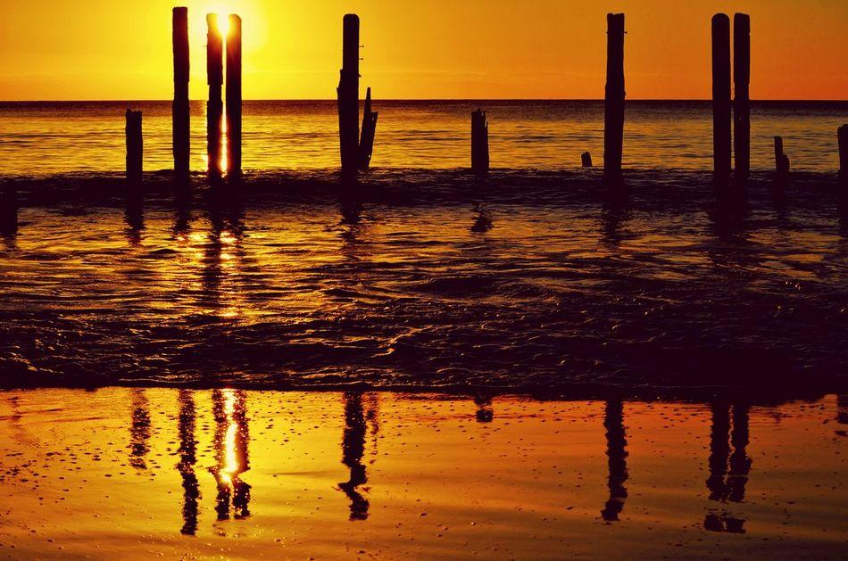 Beautiful sun set Beach Ocean View Sunset Sillouette