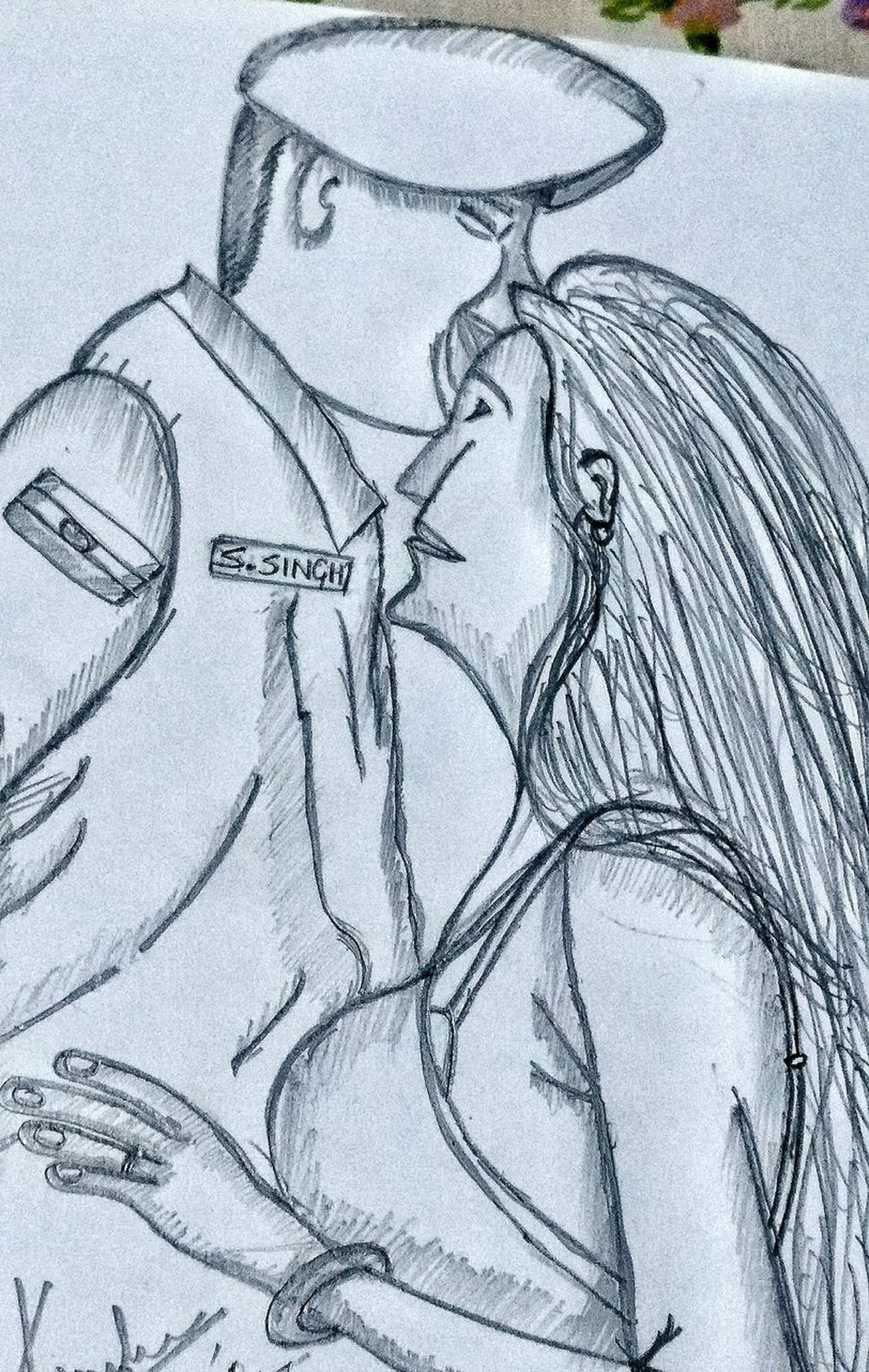 Sketch made by me for my love, my warrior, my life😘😘😘😘 Sketch No People Indoors  Day Close-up Blacknwhite