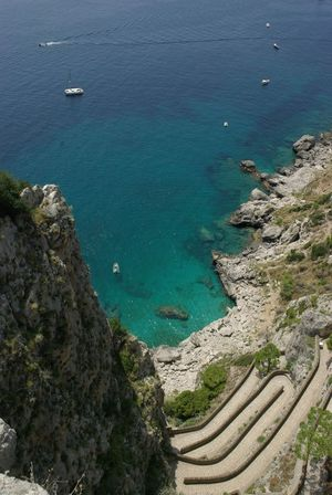 Beach Blue Capri Cliff Coastline Elevated View Krupp Nature Outdoors Rock Rocky Sea Stairs Vacation Water