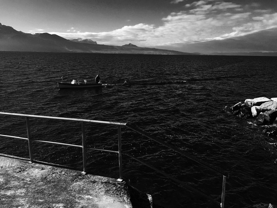 Fisherman Lake Leman Lake Clouds And Sky Mountains Epesses
