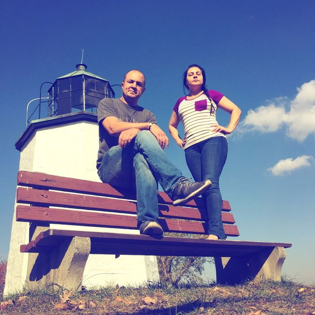 Selfie ✌ Sitting Wifey♡ Clear Sky Two People Outdoors Real People Low Angle View Togetherness Bench Stoney Point Lighthouse Lighthousephotography Lighthouse, Beacon, Light, Guide, Tower, Warn, Americanhistory