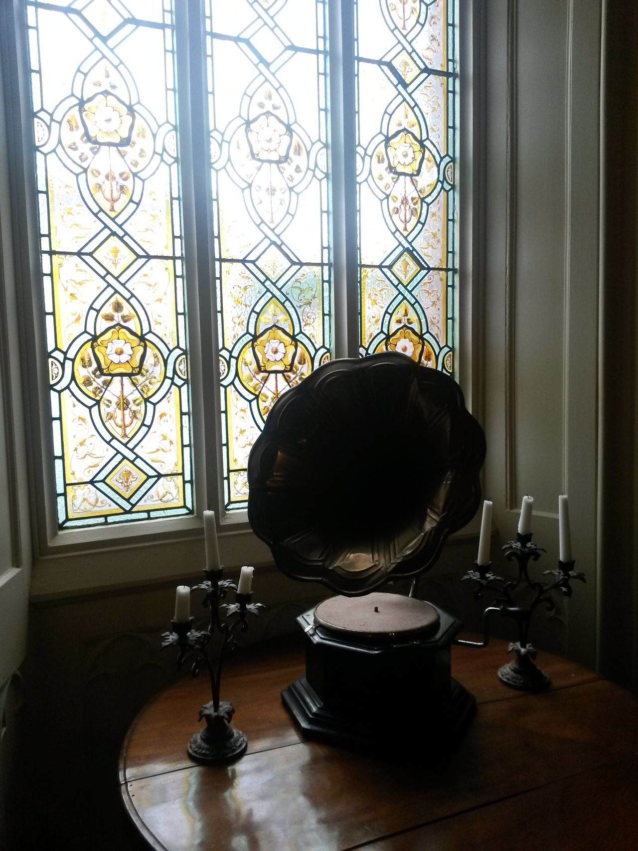Window No People Indoors  Gramophone Stained Glass Window Stained Glass Britishness Vintage Stuff Retro EyeEmNewHere