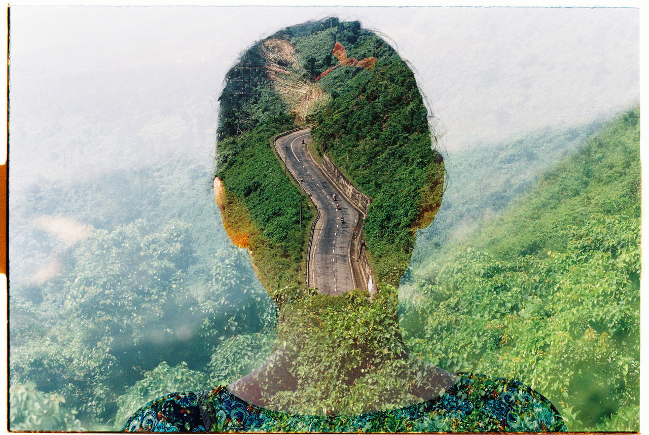 135 35mm Analogue Photography Double Exposure Film Girl HEAD Mind  Road