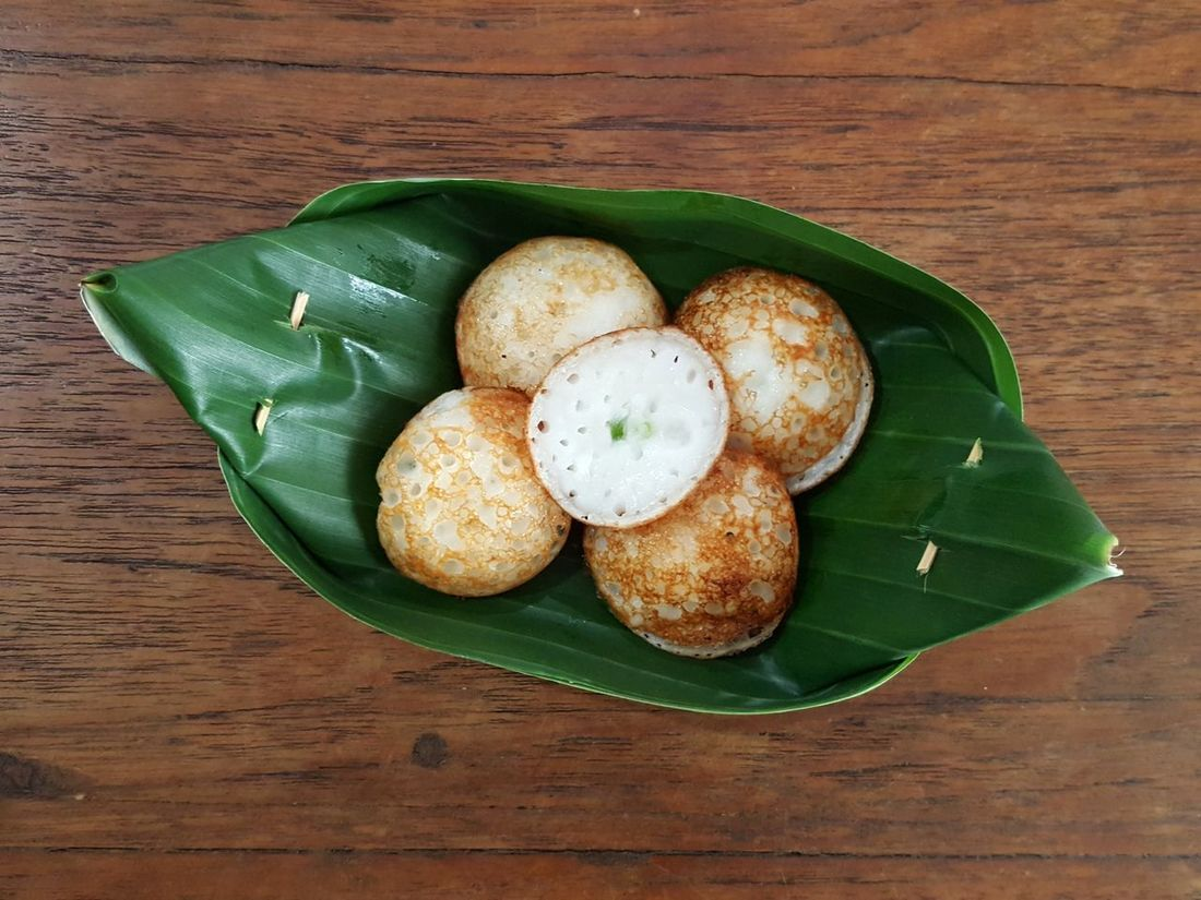 Natural Food Package Dessert Thai Sweet Coconut Rice Cake Serve Leaf Plate Food High Angle View