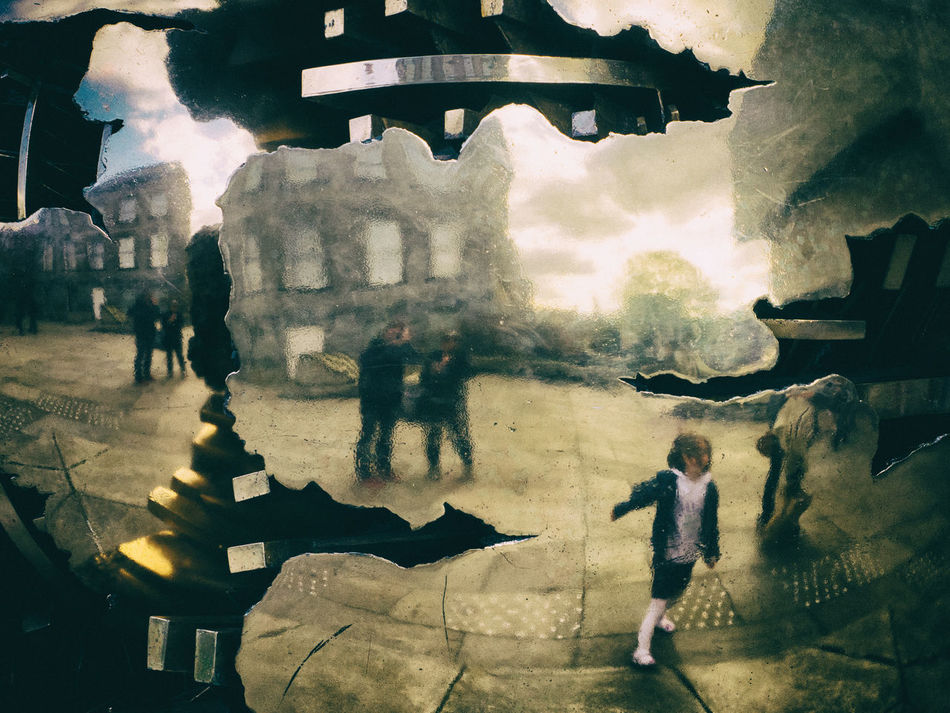 Abstract Apocalyptic Broken Broken World Child City City Life Disrupted Distortion  Lifestyles Metal Mirror Playing Reflection Sky World