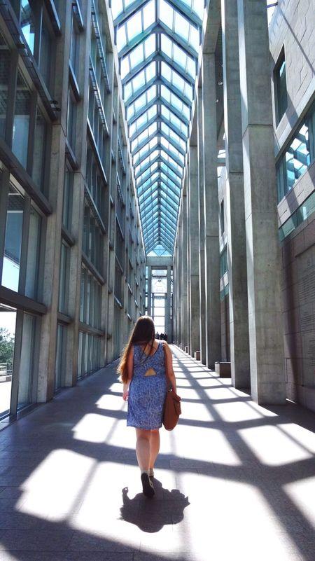 Women Around The World Art Gallery Dress Glass Hall Light Corridor Uphill Long Hair Ottawa Architecture Glass Building Long Hallway Walking Around Girl Strolling Headuphigh