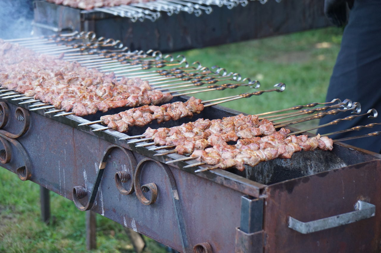 Arabic Barbeque BBQ Broil Cooking Food Grill Grilled Grilling Kebab Market Stall Meat No People Outdoors Preparation  Roasting Skewer