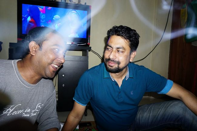 Two of my best friend. Hanging Out With Friends Hangout Smoke Hangover Interior Views Glitch Smoking And Chilling Just Chillin' ✌ Watching Tv The Enhanced Human Flash Photography Night Having Fun Urban Lifestyle Urbanity Candid Photography Dhaka, Bangladesh