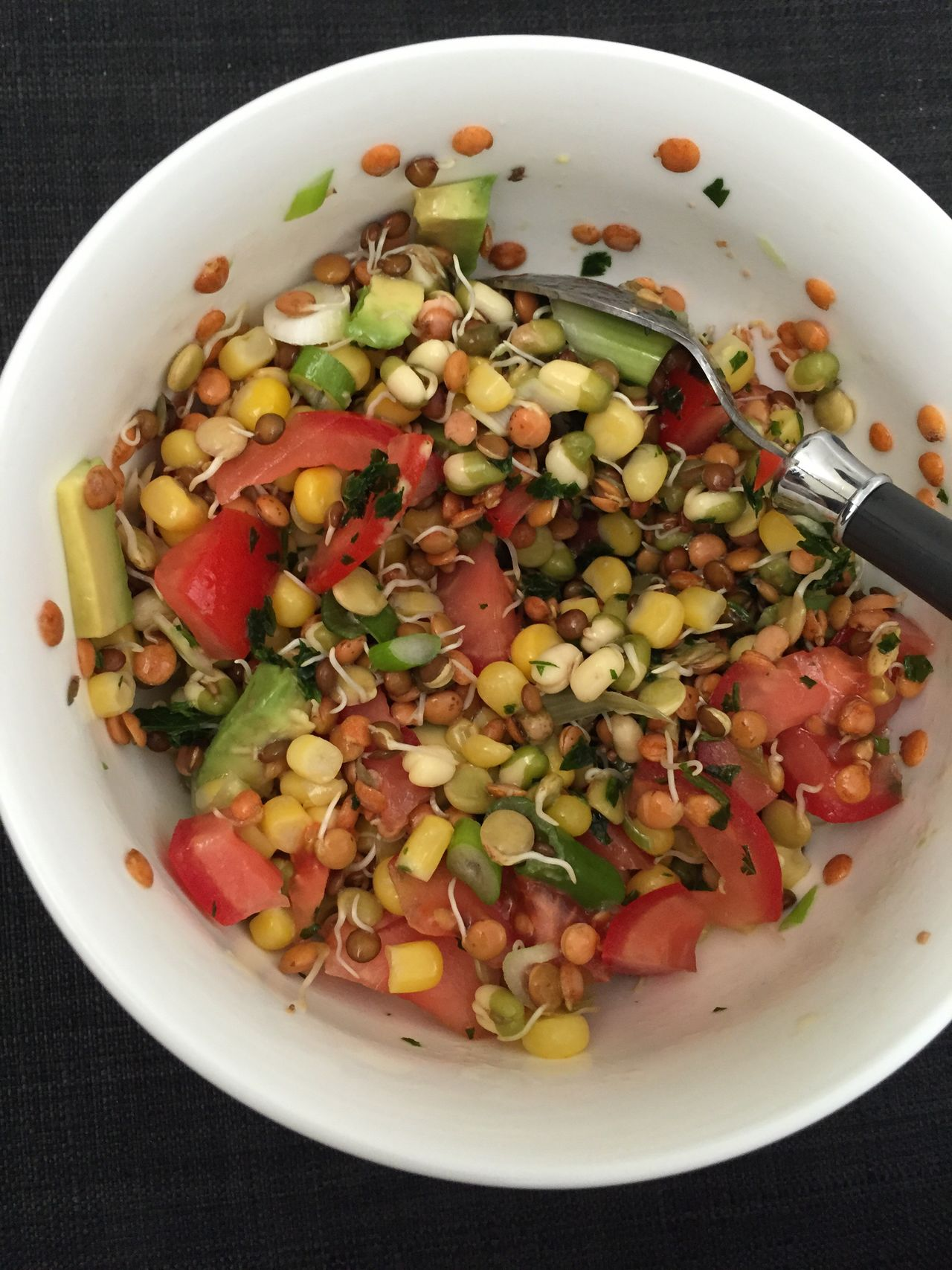 Healthy Eating Food And Drink Freshness Salad Food Bowl Vegetable No People Plate Indoors  Close-up Ready-to-eat Table Directly Above Vegetarian Food Bean Legume Family Germinated Lentils Corn Tomatoes Avocado Germinated Serving Size