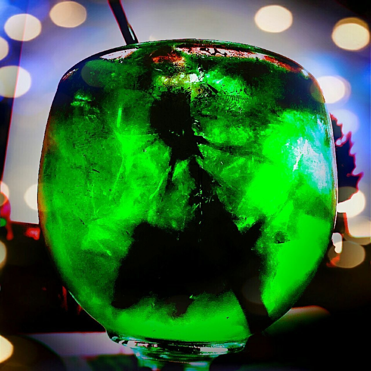 green color, close-up, illuminated, no people, indoors, multi colored, day