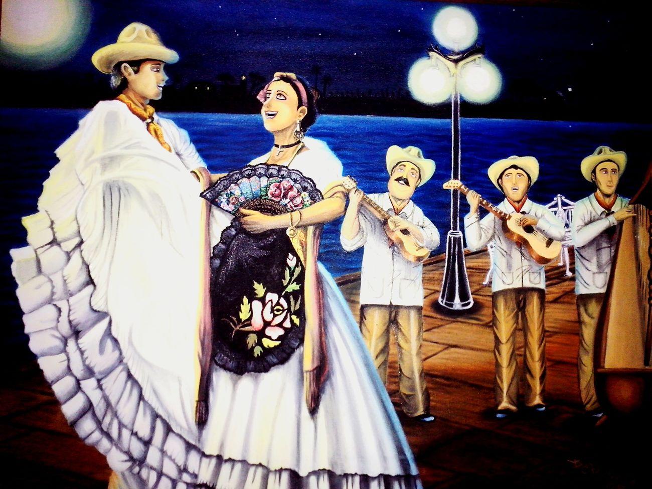 Arte Cultura Tradiciones Pintura Tlacotalpan Sonjarocho Veracruz, México Noche Muelle Jarana Music