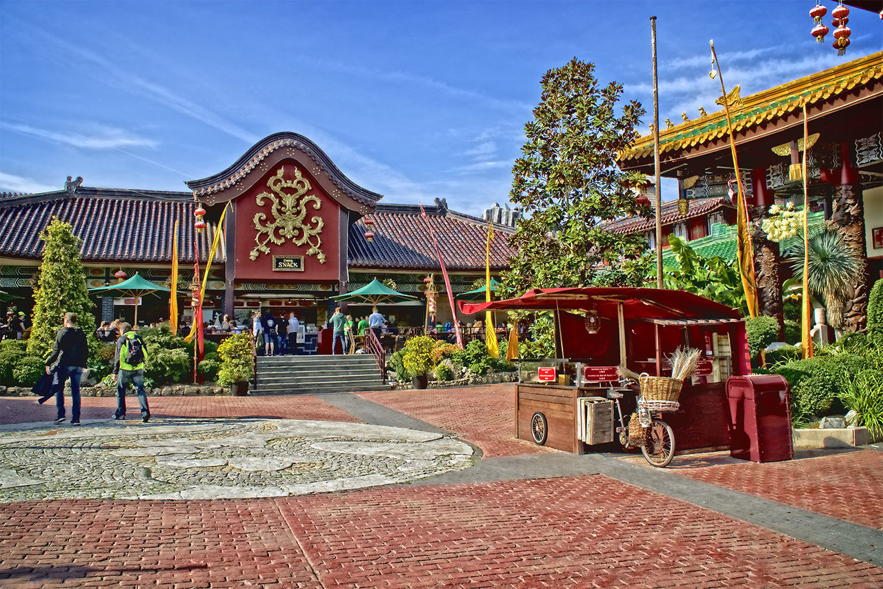 Amusementpark Architecture Asian Culture Building Exterior Built Structure Day Decoration Footpath Full Length Group Of People In Front Of Natur Nature Outdoors Phantasialand Pretty
