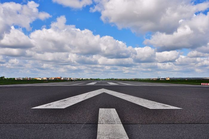 airport Airport Arrow Blue And White Sky Horizon Sky Sky And Clouds Space Urban