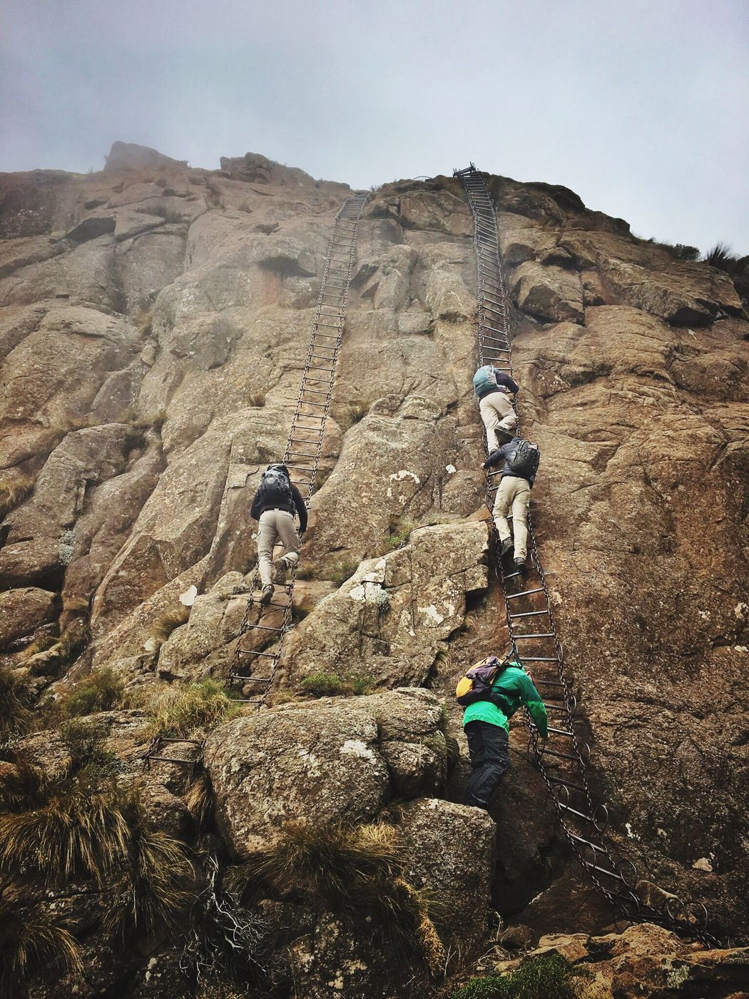 Finding New Frontiers Drakensberg, South Africa Chain Ladder Mountain Climbing Rock Climbing Cliff Rock - Object Sheer Rock Holiday Ladders Climbers South Africa Adventure Backpack Mountain Cliff Miles Away The Great Outdoors - 2017 EyeEm Awards