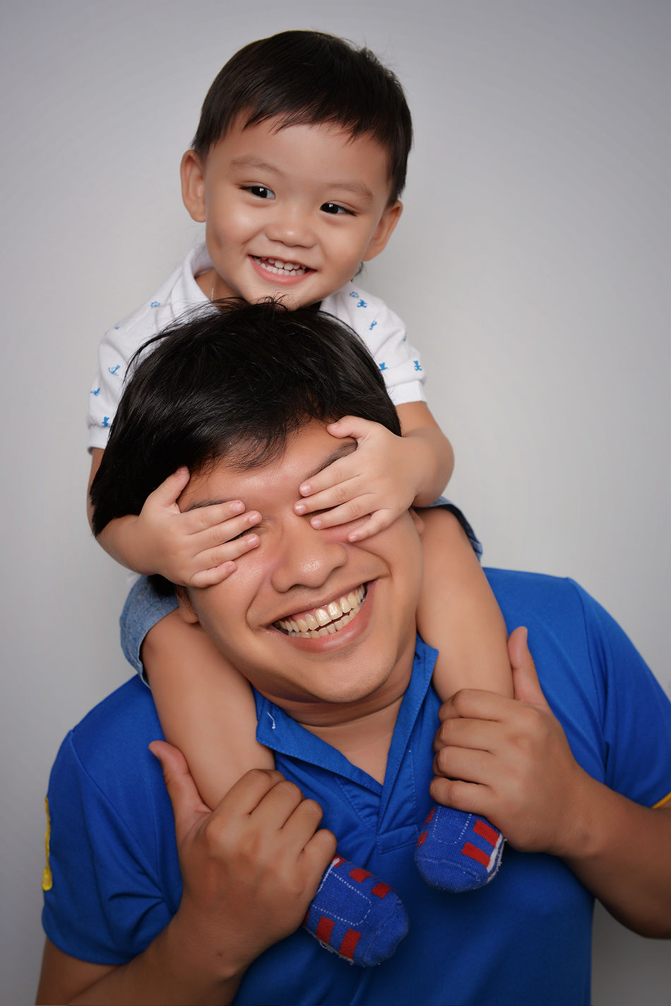 Adult Bonding Bonding Time Casual Clothing Cheerful Child Childhood Eyeem Philippines Father Father & Son Father And Son Father's Day Fatherhood  Fatherhood Moments Gray Background Happiness Indoors  People Portrait Smile Smiling Studio Shot Togetherness Toothy Smile Two People