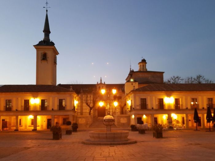 Plaza del Ayuntamiento de Brunete Illuminated City Dusk Street Light Night Tower Sky Clock Clock Tower Outdoors Architecture No People Cityscape Clock Face