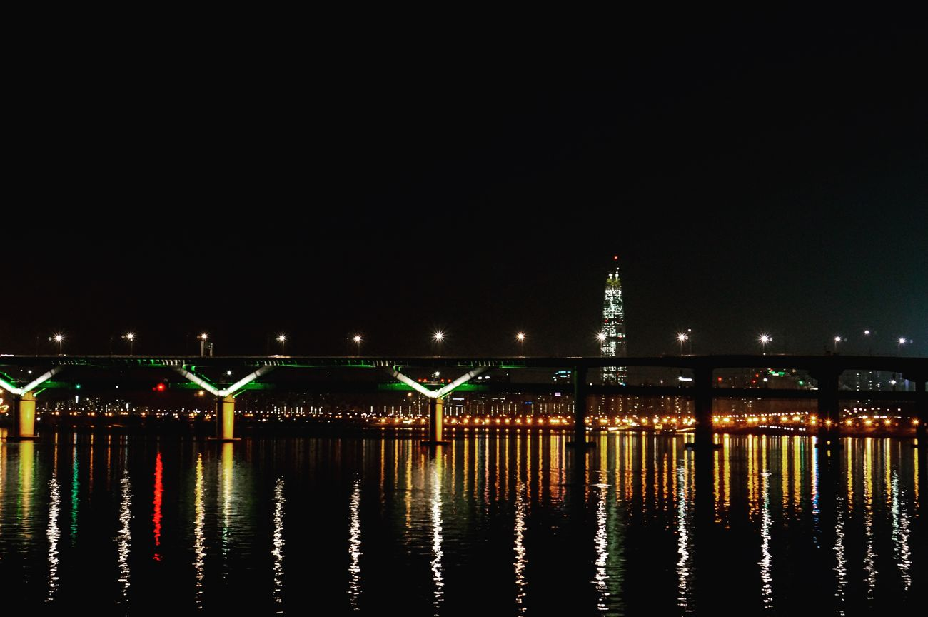 Cheongdam Bridge Han River Night View Lotteworld Tower