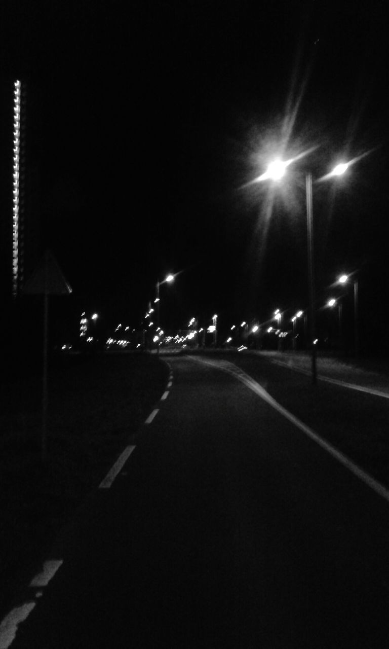 night, illuminated, street light, lighting equipment, road, the way forward, transportation, outdoors, no people, sky, city