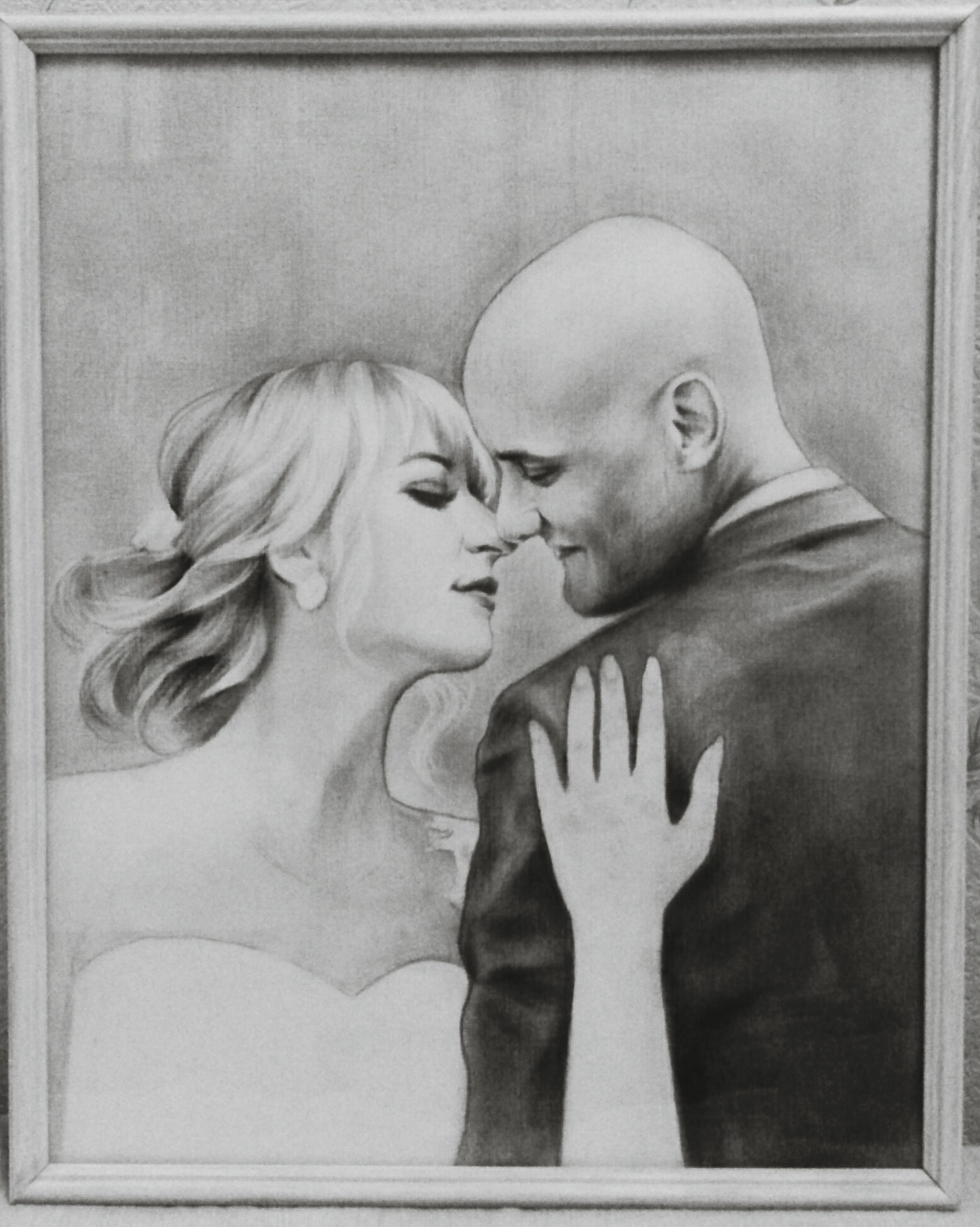 two people, togetherness, love, bonding, heterosexual couple, domestic life, eyes closed, embracing, adult, women, men, close-up, human body part, indoors, shaved head, people, adults only, fragility, human hand, day