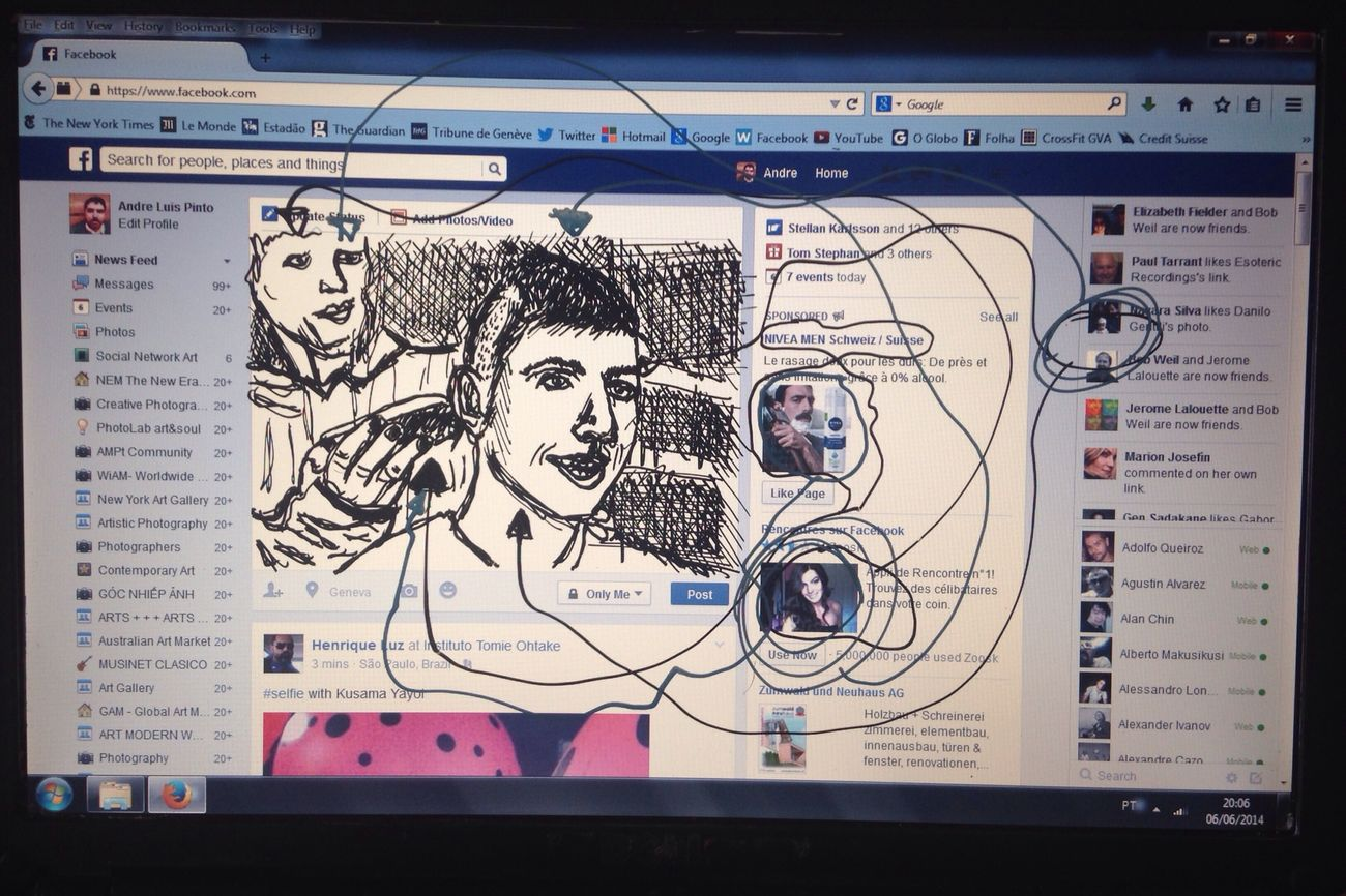 "Socialnetworkart ""The barber girl"". Drawing on screen. 2014"