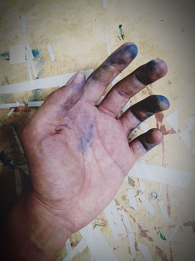 Working. 🌍 Working Paint Art Blue Hand Essegnum