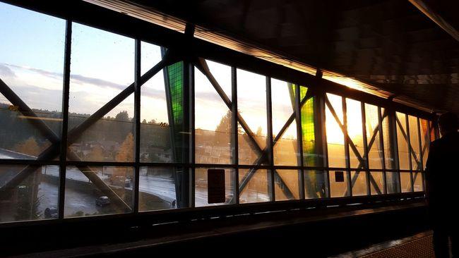 Rain can take a break. Sky Transportation Window Day Sunset Sunshine Green Cloudy Skytrain Station Waiting For A Train Afterschool  Evening Sky